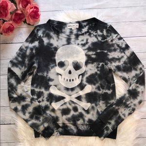 Wildfox Tops - Wildfox Skull Graphic Tie Dye Pullover Sweatshirt